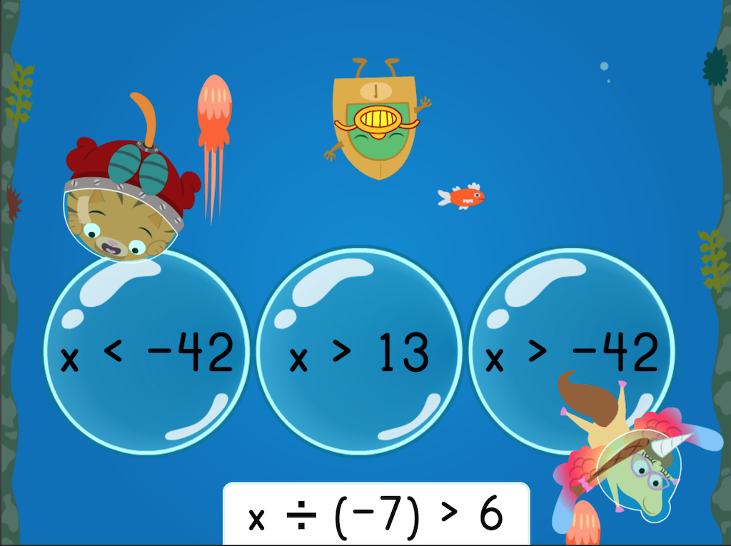 7th grade Math Games: Treasure Diving: Solving One-Step Multiplication and Division Inequalities