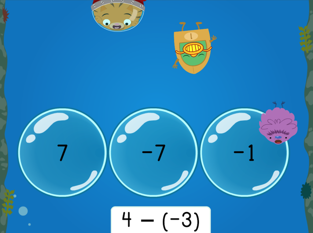 7th grade Math Games: Treasure Diving: Subtracting Integers