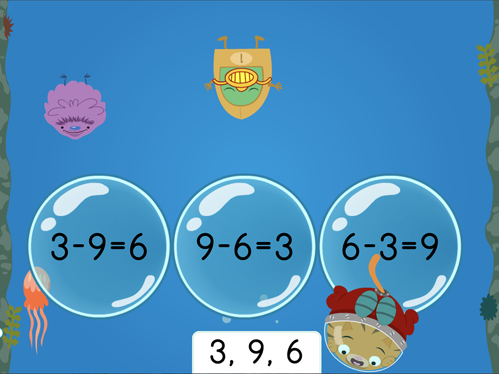1st grade Math Games: Treasure Diving: Subtraction Fact Families Within 10