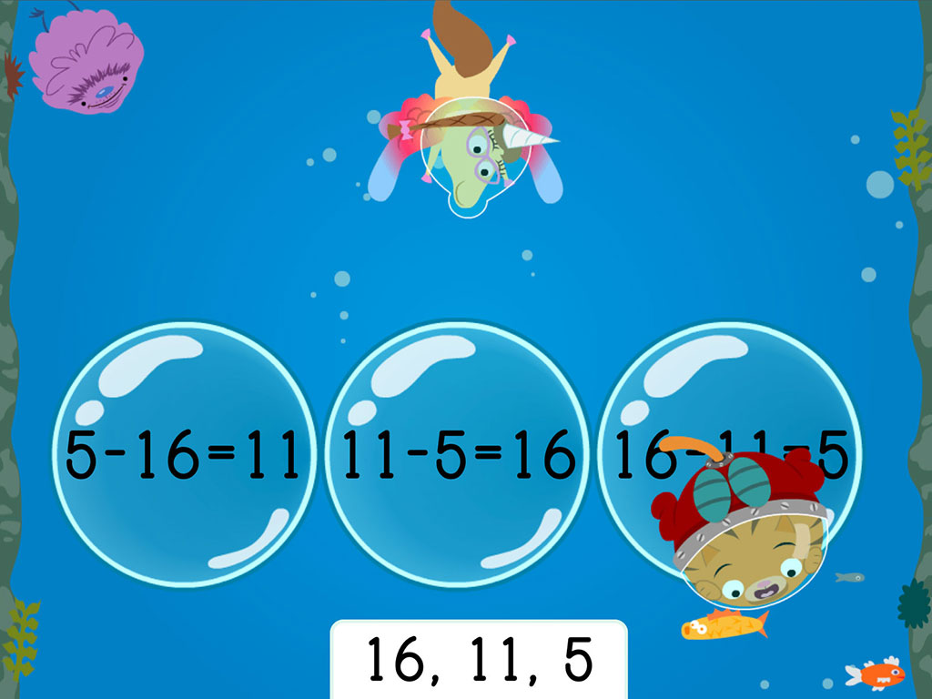 1st grade Math Games: Treasure Diving: Subtraction Fact Families Within 20 (Game 1)