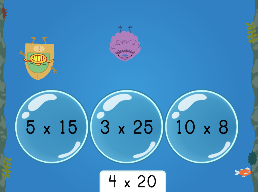 4th grade Math Games: Treasure Diving: Which Expressions Have the Same Product?
