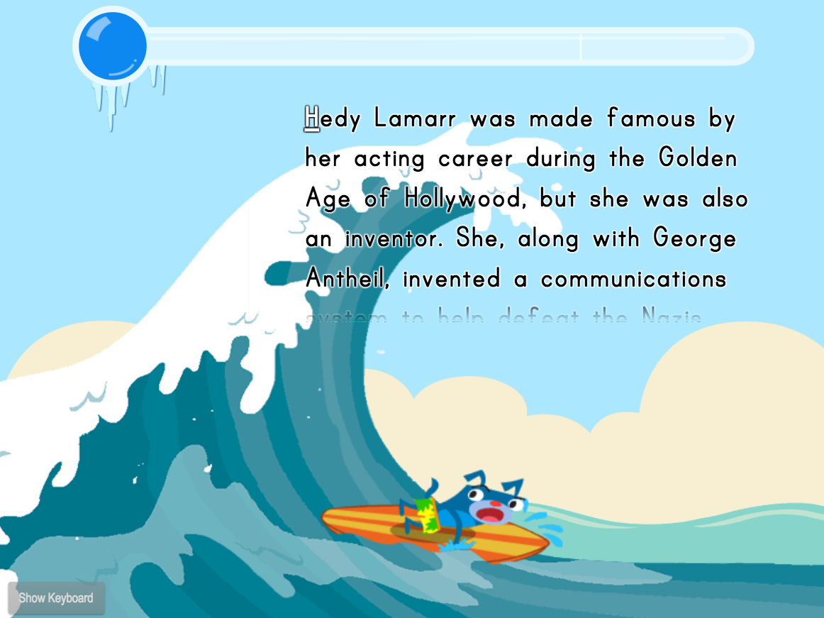 2nd grade Typing Games: Typing Paragraphs for Speed: Fun Facts Surfing