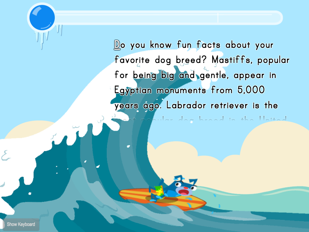 2nd grade Typing Games: Typing Paragraphs for Accuracy: Fun Facts Surfing