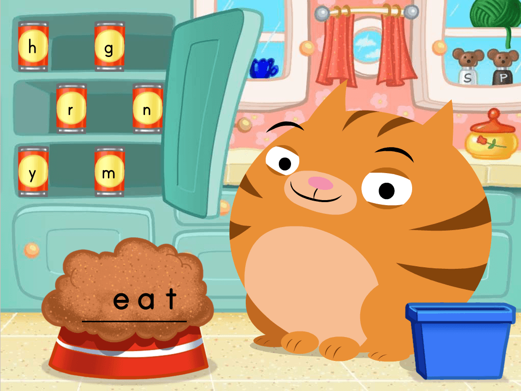 2nd grade Reading & Writing Games: Vowel Pairs Cat Food Spelling