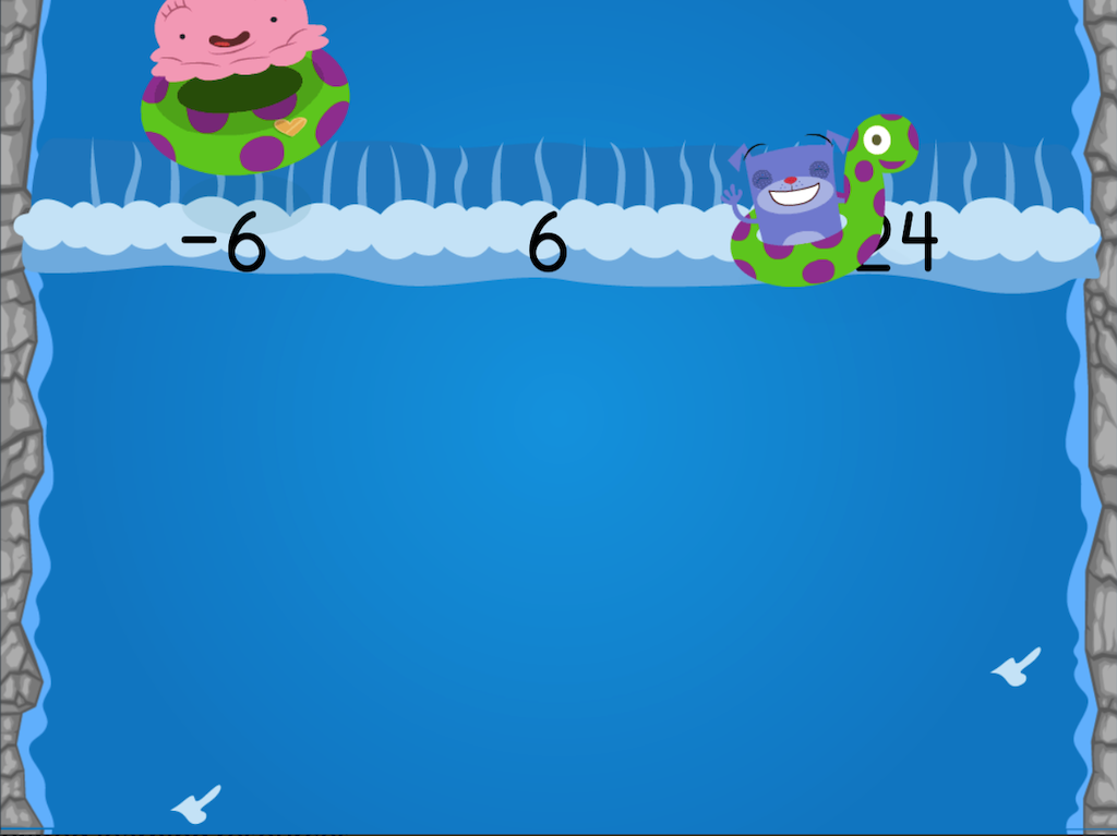 7th grade Math Games: Water Rafting: Adding Integers