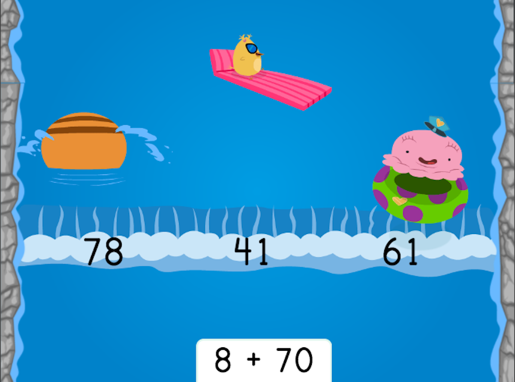 1st grade Math Games: Water Rafting: Adding Two-Digit and One-Digit Numbers