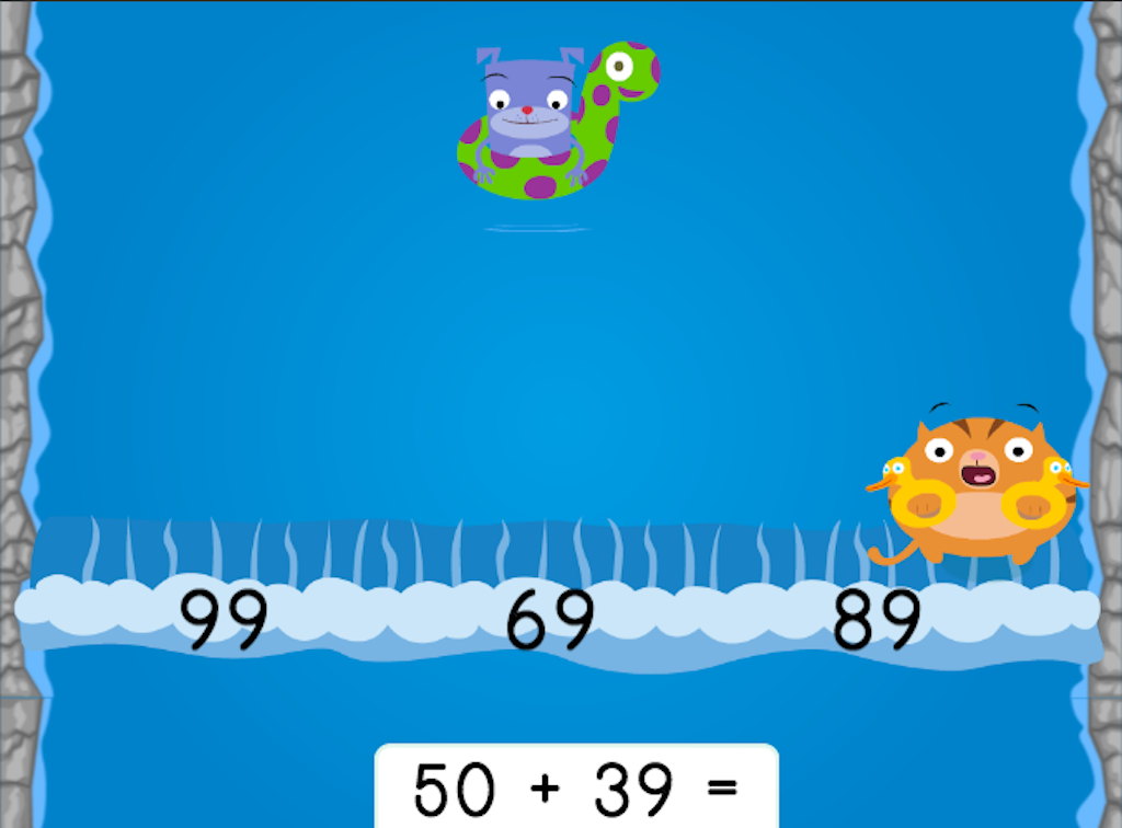 1st grade Math Games: Water Rafting: Adding Two-Digit Numbers and Multiples of 10