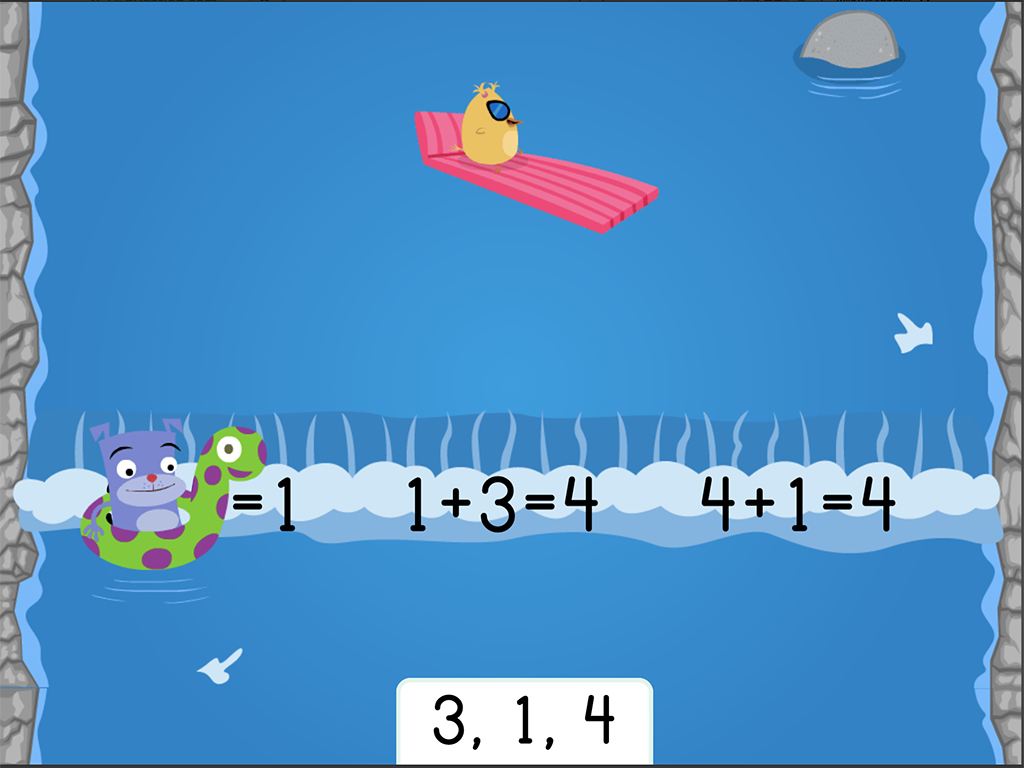 1st grade Math Games: Water Rafting: Addition Fact Families Within 10
