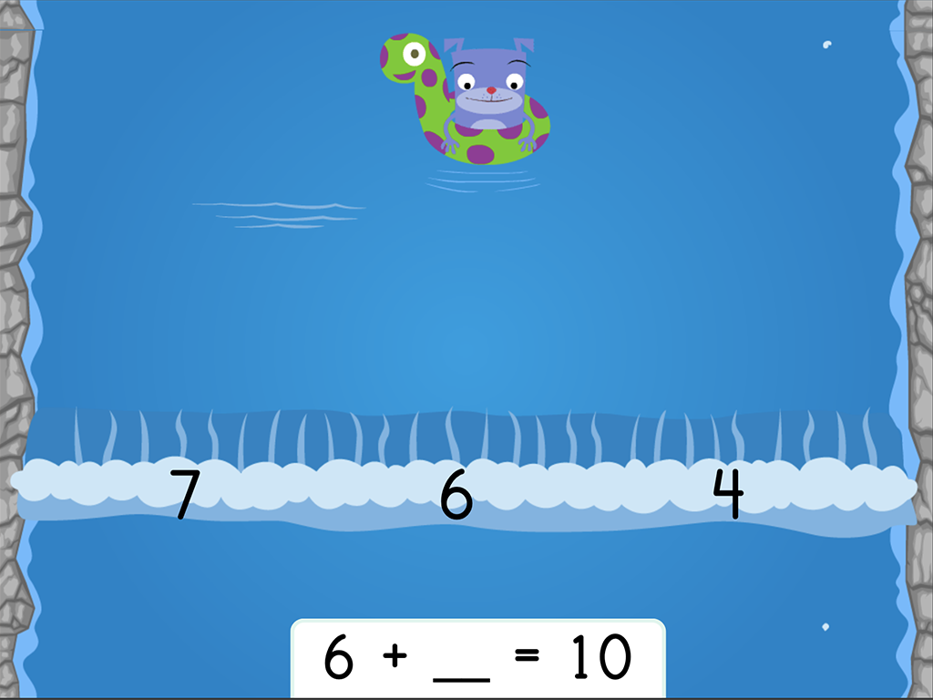 1st grade Math Games: Water Rafting: Addition Missing Factors within 10 (Game 1)