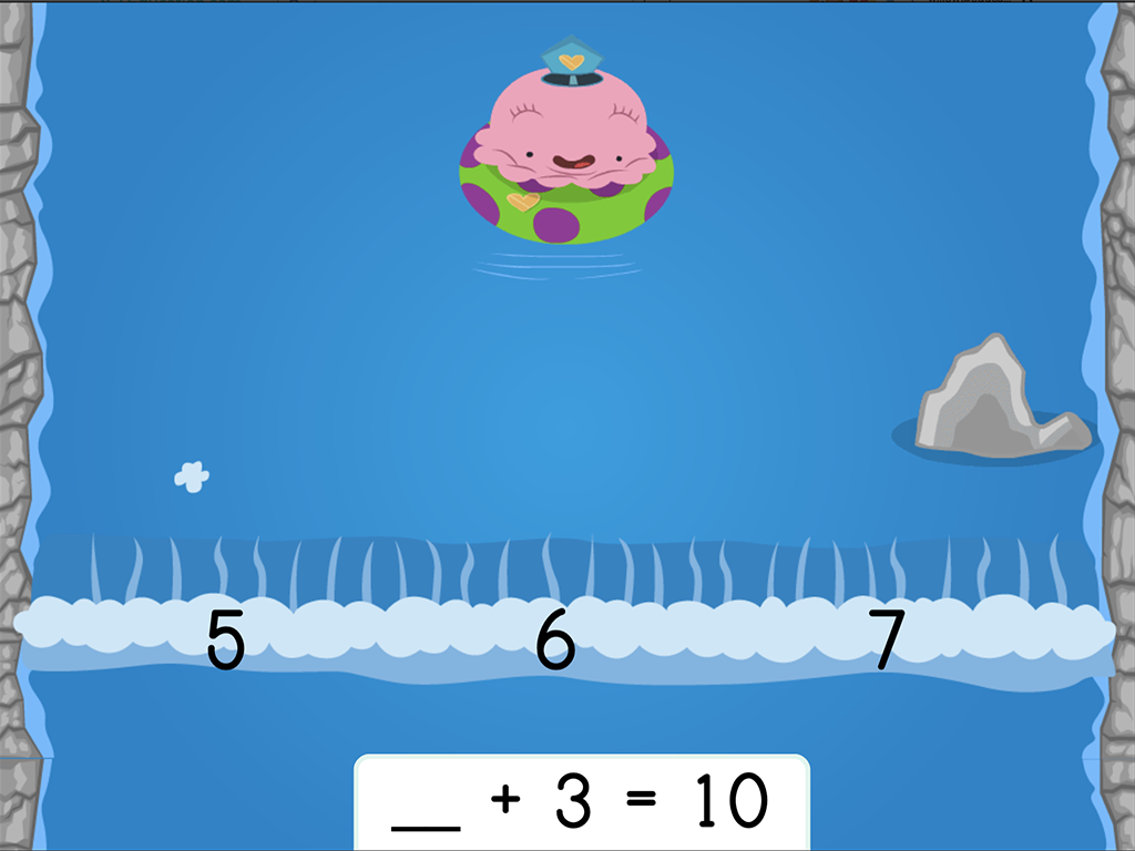 1st grade Math Games: Water Rafting: Addition Missing Factors within 10 (Game 2)