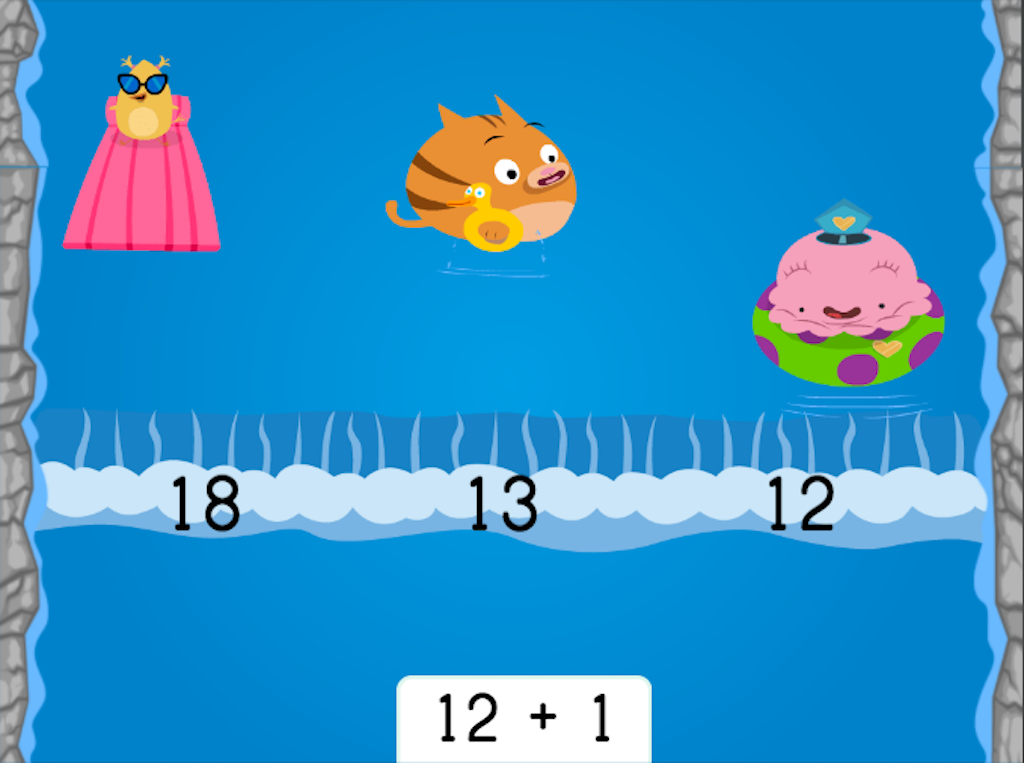 1st grade Math Games: Water Rafting: Addition Patterns of 1 More