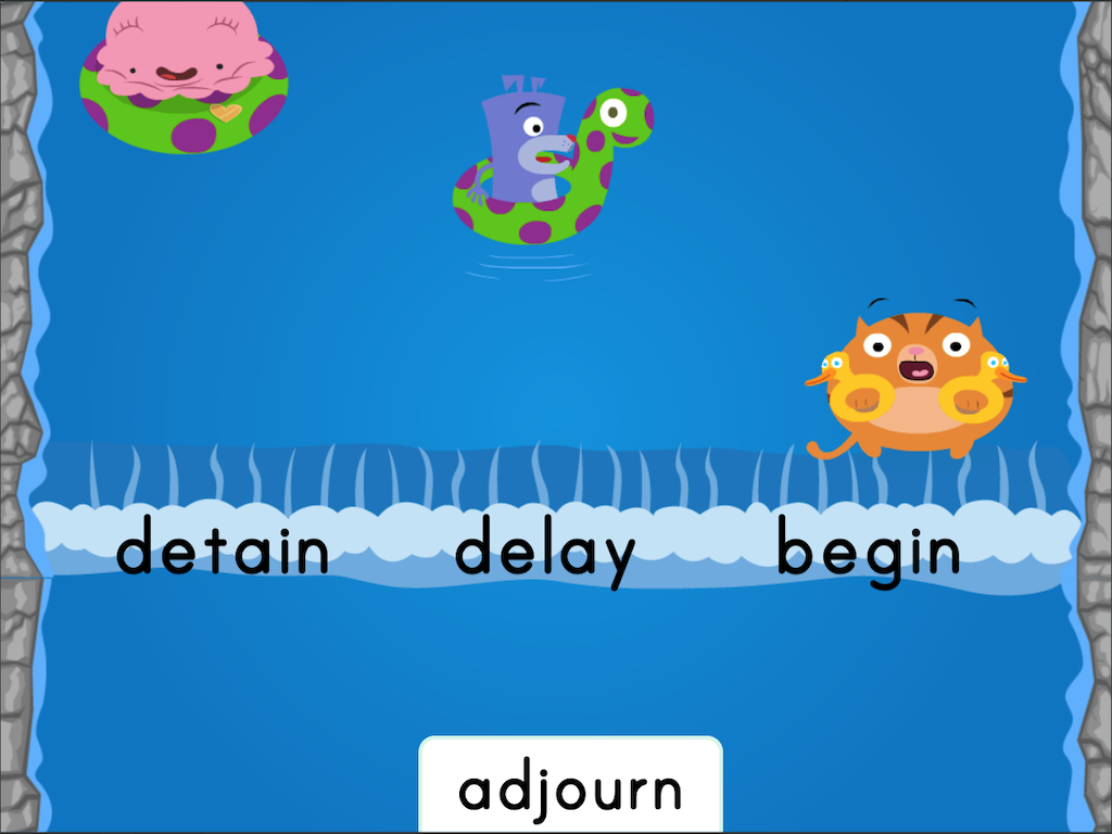 6th grade Reading & Writing Games: Water Rafting: Antonyms