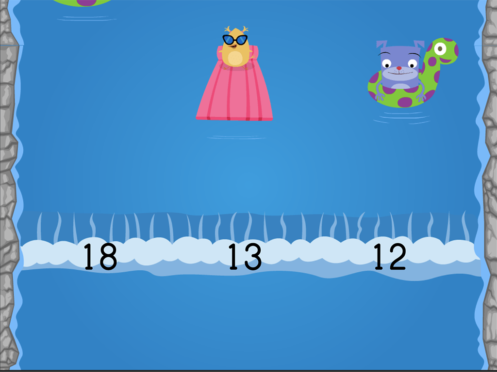 Kindergarten Math Games: Water Rafting: Compare Numbers 0-20