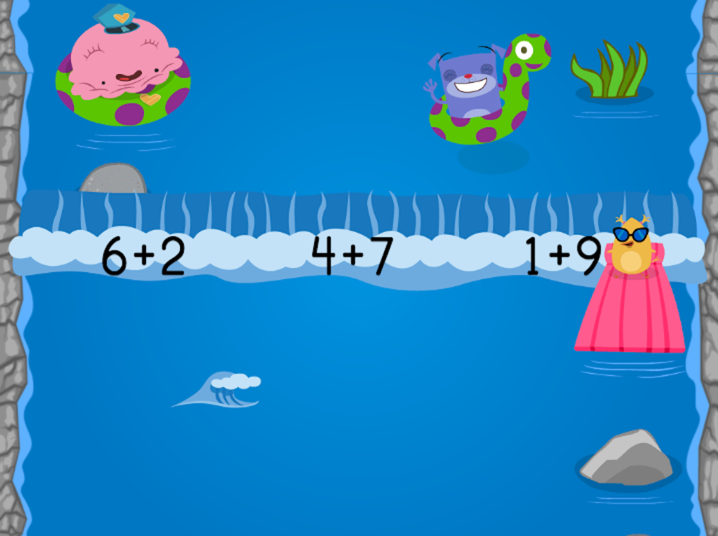 1st grade Math Games: Water Rafting: Compose Numbers to Make 10 (Game 1)