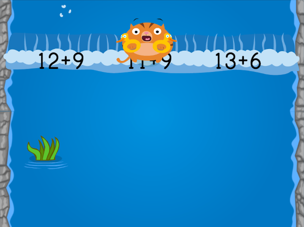1st grade Math Games: Water Rafting: Compose Numbers to Make 20 (Game 1)