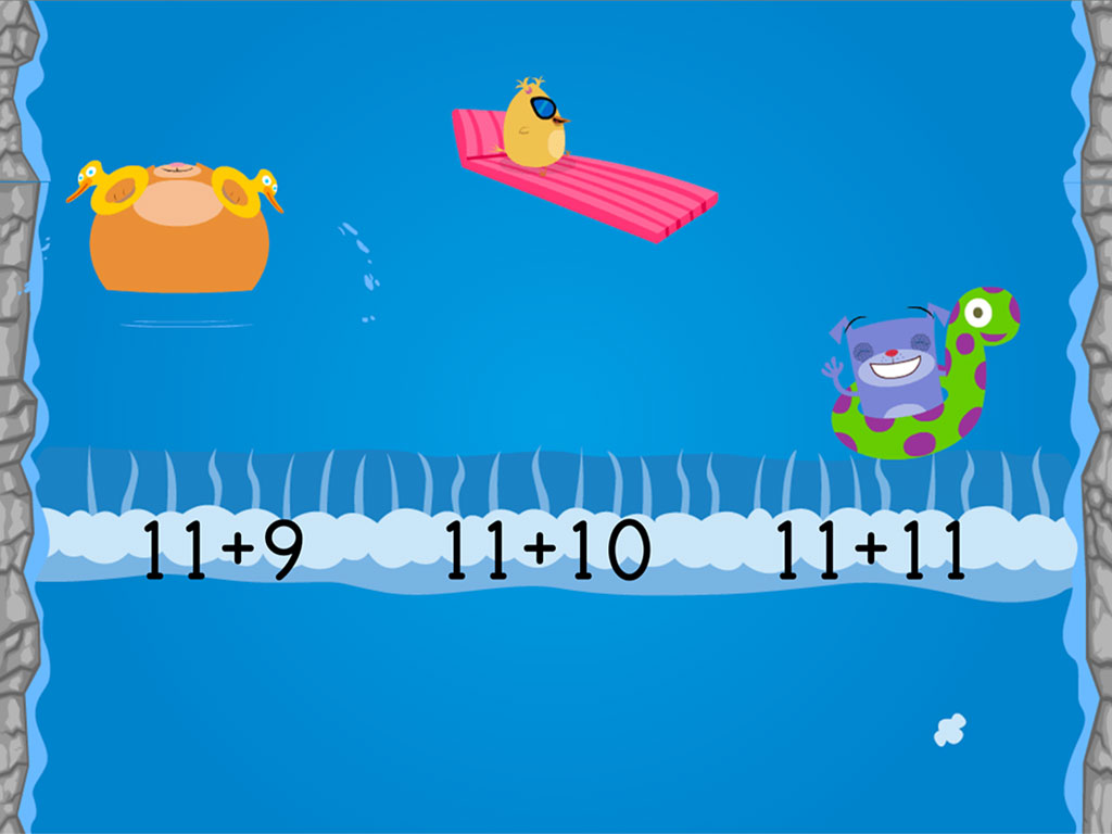1st grade Math Games: Water Rafting: Compose Numbers to Make 20 (Game 2)