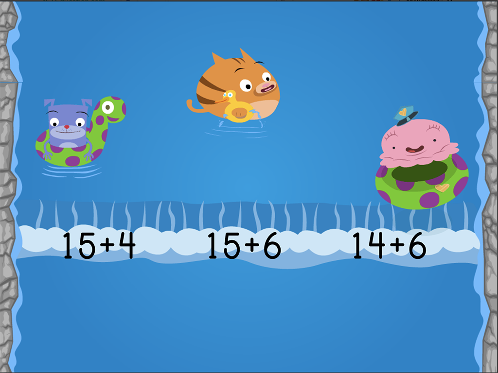 1st grade Math Games: Water Rafting: Compose Numbers to Make 20 (Game 3)