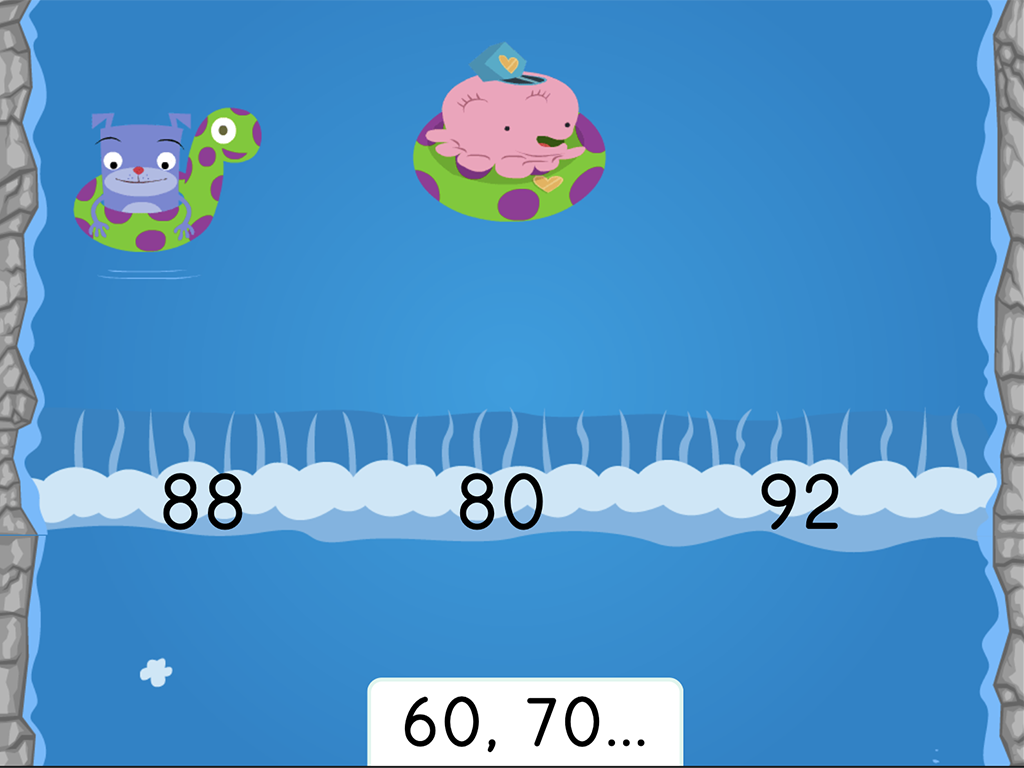 Kindergarten Math Games: Water Rafting: Counting by 10s