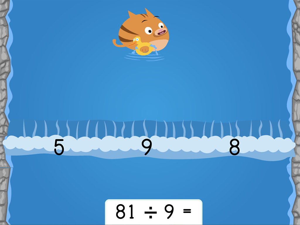 4th grade Math Games: Water Rafting: Division Facts