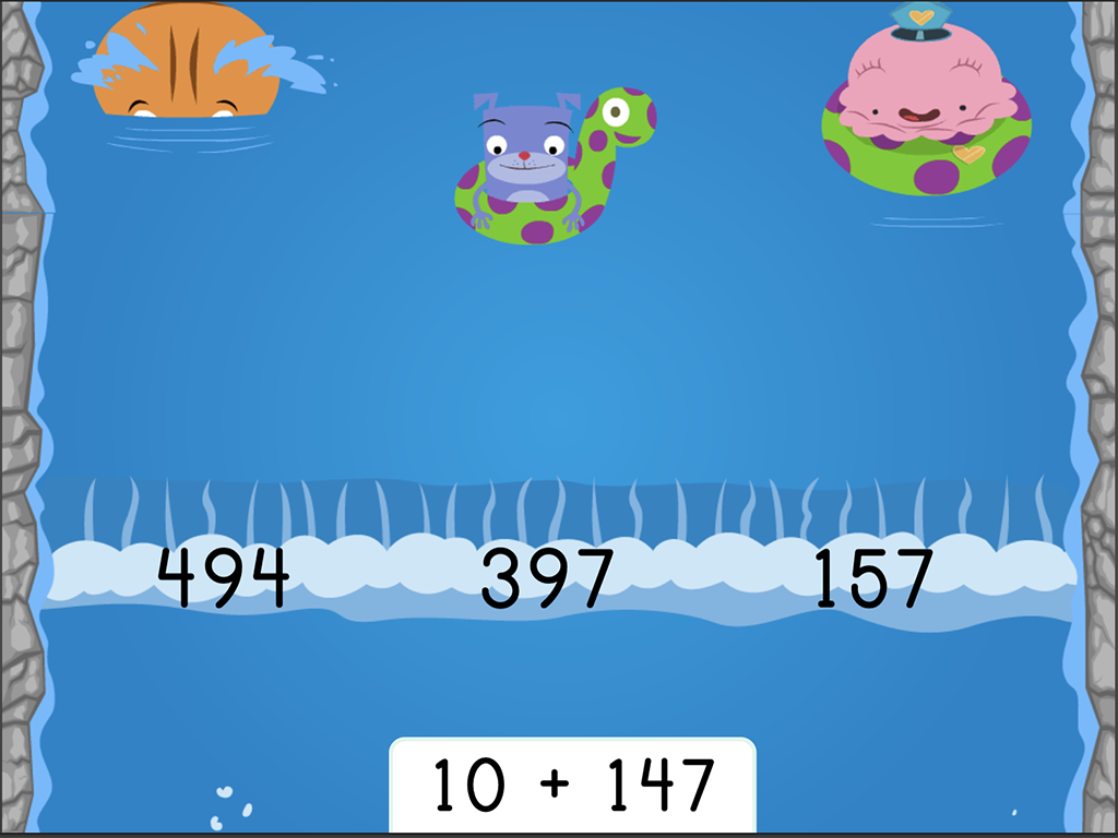 2nd grade Math Games: Water Rafting: Finding 10 More Three-Digit Addition