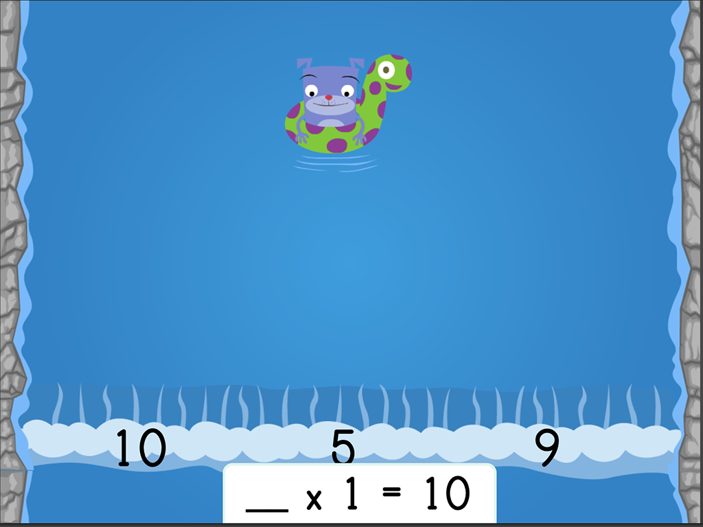3rd grade Math Games: Water Rafting: Multiplication Facts and Missing Factors