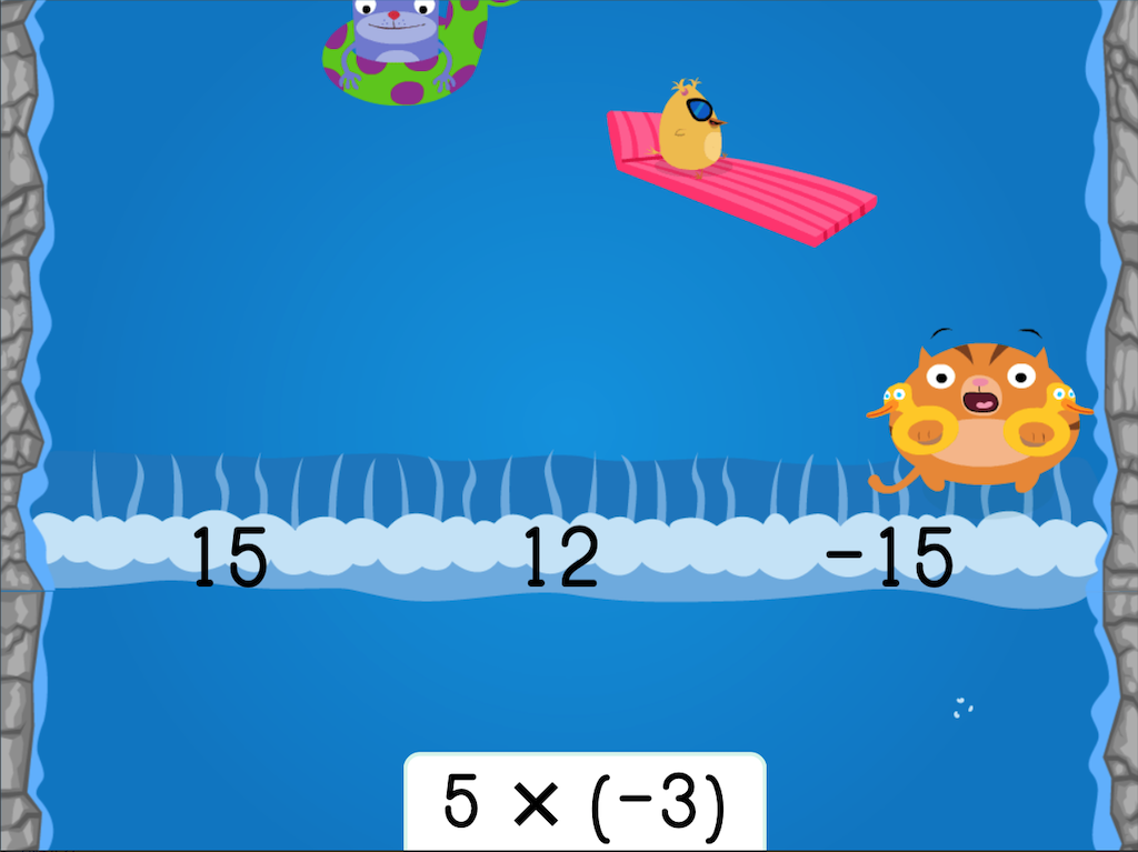 7th grade Math Games: Water Rafting: Multiplying Integers