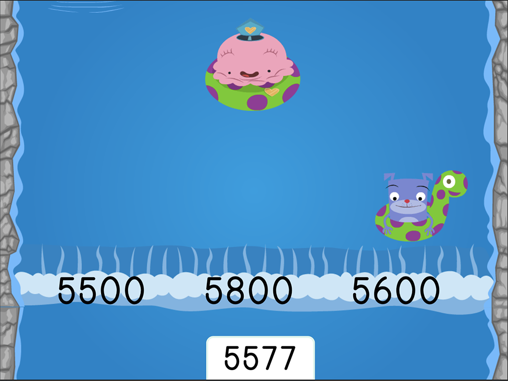 4th grade Math Games: Water Rafting: Rounding Multi-Digit Numbers to the Nearest Hundred