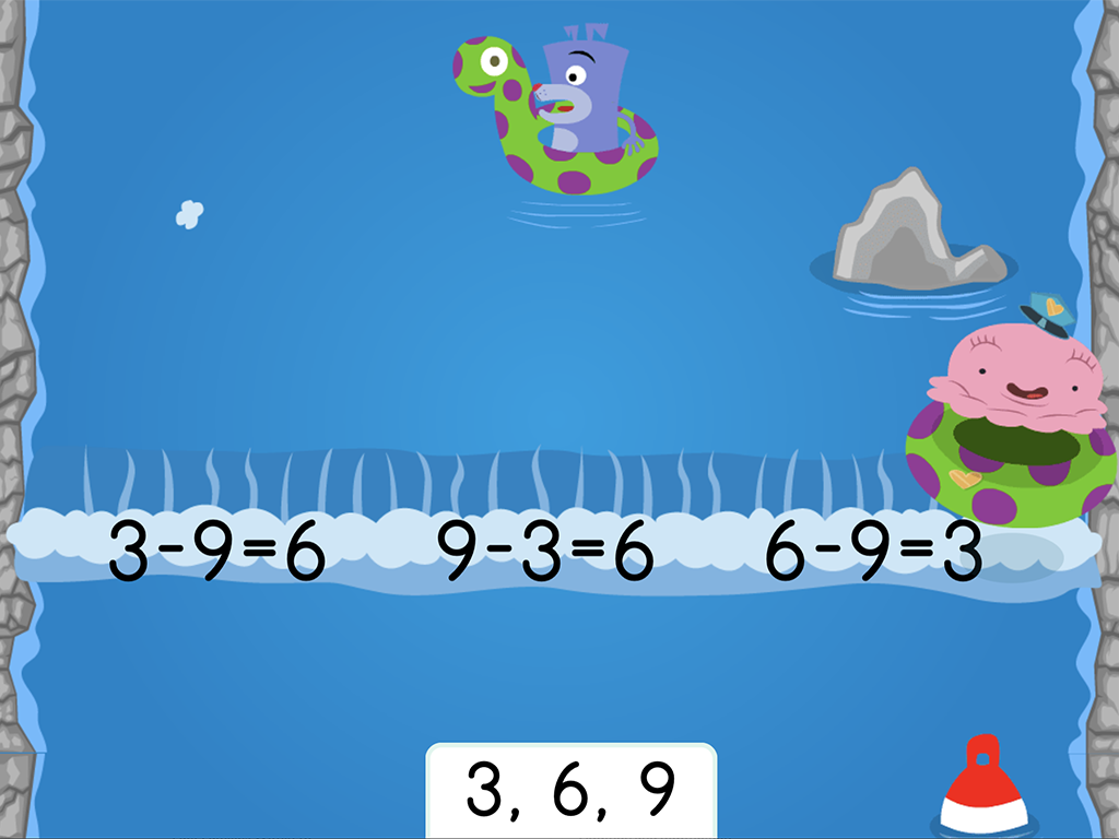 1st grade Math Games: Water Rafting: Subtraction Fact Families Within 10