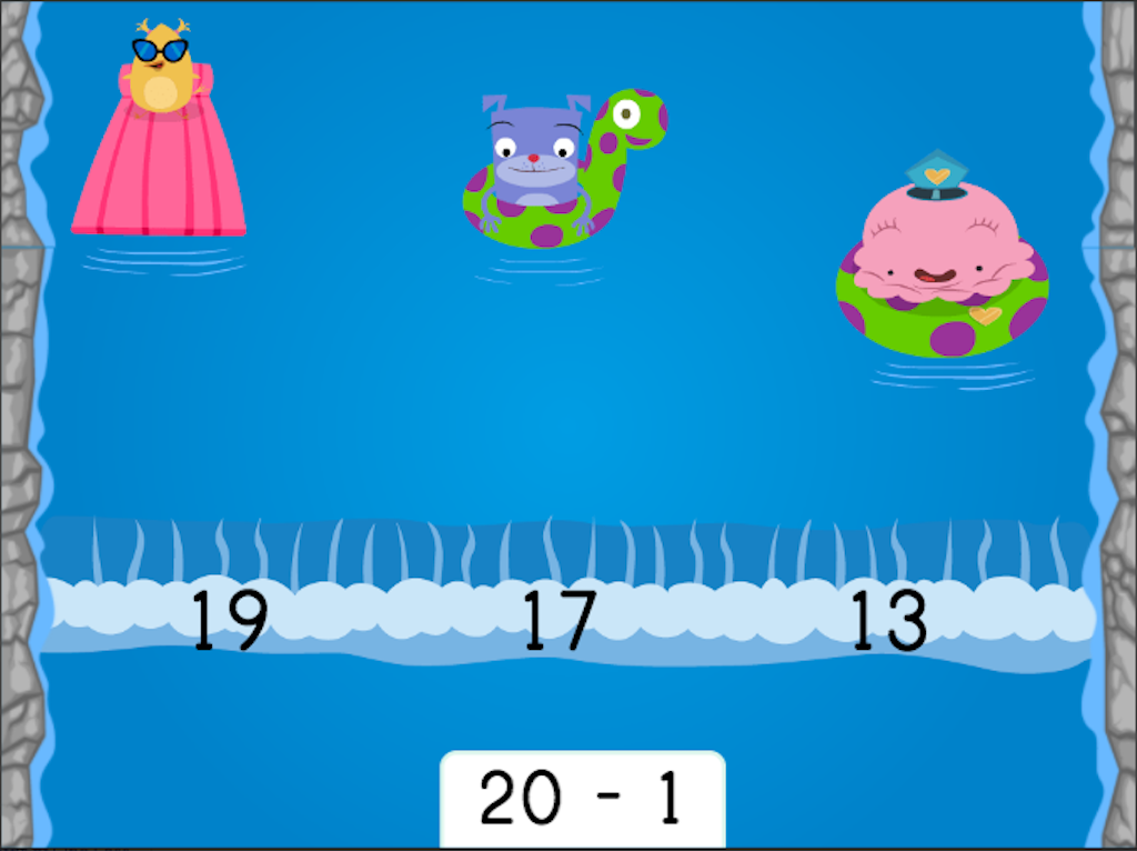 1st grade Math Games: Water Rafting: Subtraction Patterns of 1 Less
