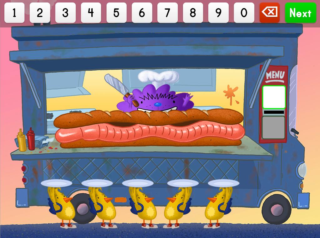 3rd grade Math Games: Worm Sandwich Fractions