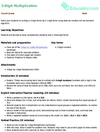 3-Digit Multiplication | Lesson plan | Education.com