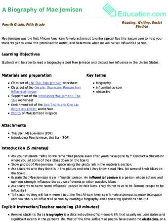 A Biography of Mae Jemison   Lesson plan   Education.com