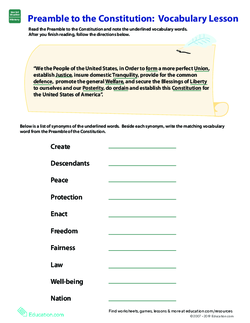 Vocab in History: Preamble to the Constitution