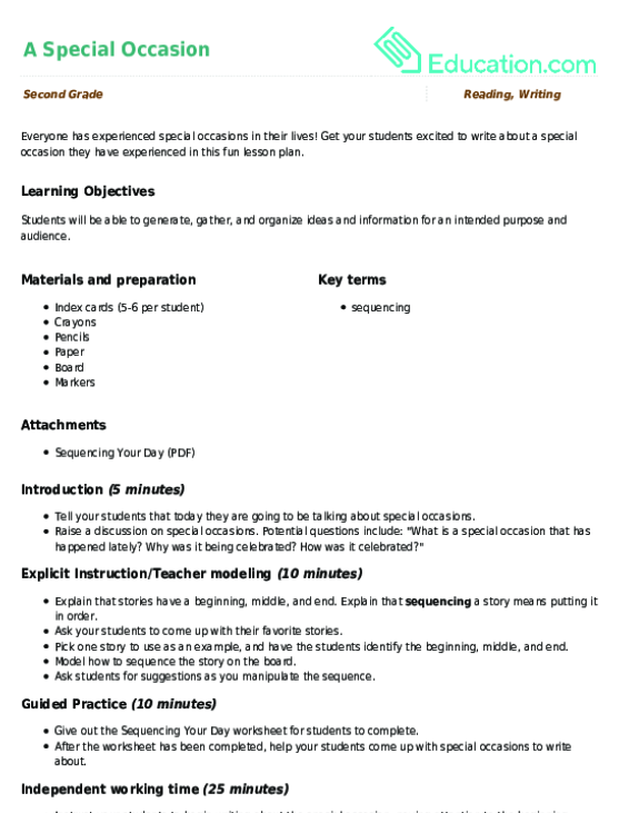 Super Sequencing Lesson Plan Education
