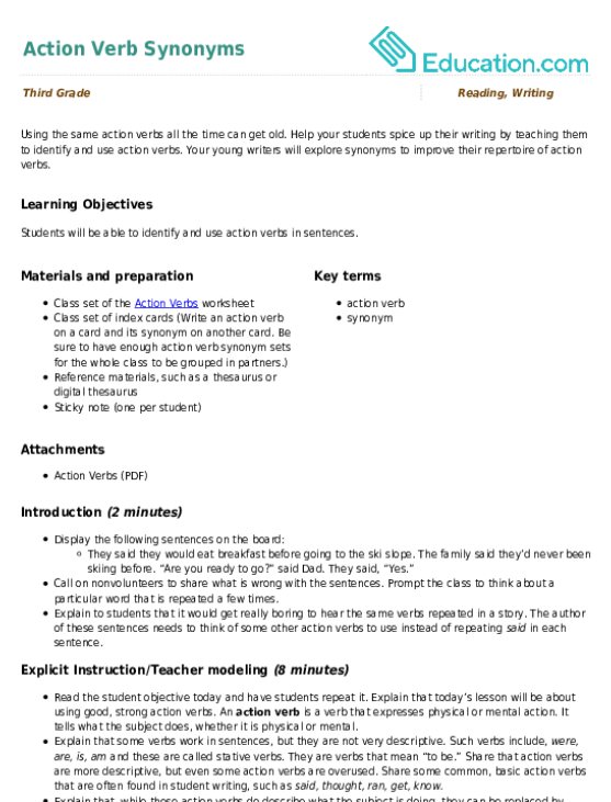 Action Verb Synonyms Lesson Plan Education Com