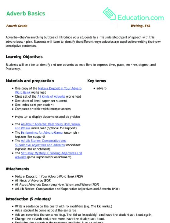 Adverb Basics | Lesson Plan | Education.com | Lesson plan ...