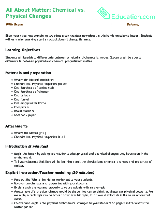 All About Matter Chemical vs Physical Changes Lesson Plan – States of Matter Worksheet High School