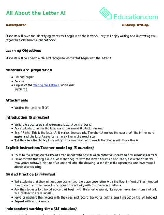 All About the Letter A! | Lesson Plan | Education.com ...