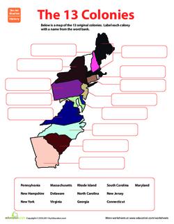 Words Original 13 Colonies Coloring Page - Berkshireregion