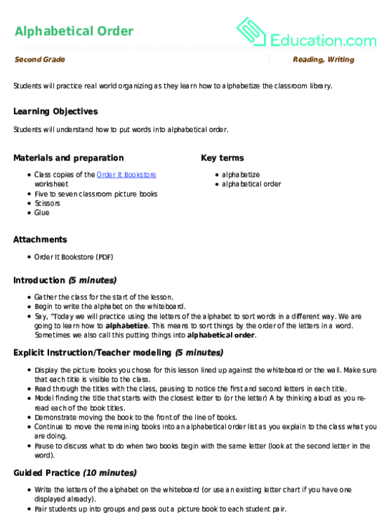 Alphabetical Order Lesson Plan Education