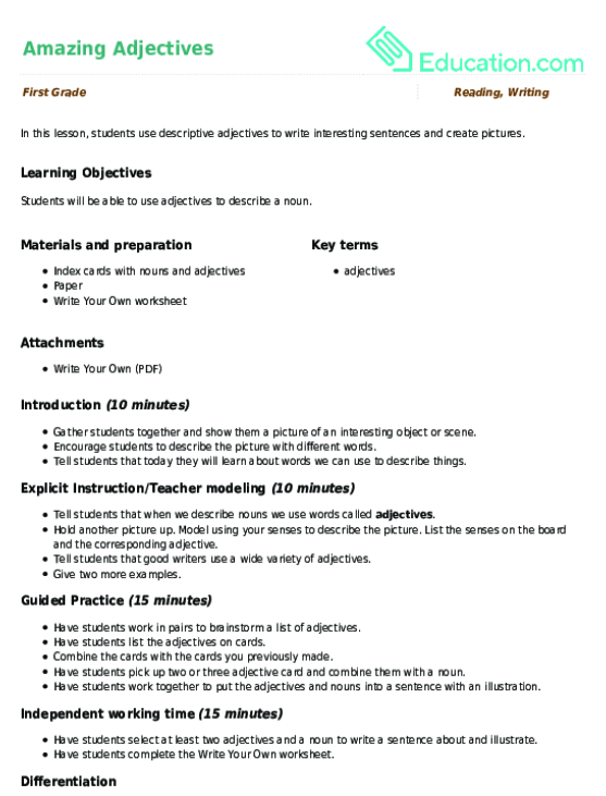 Amazing Adjectives Lesson Plan Education. Amazing Adjectives. Worksheet. Worksheet On Adjectives For 2nd Grade At Clickcart.co