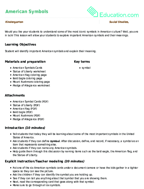 American Symbols Lesson Plan Education Lesson Plan