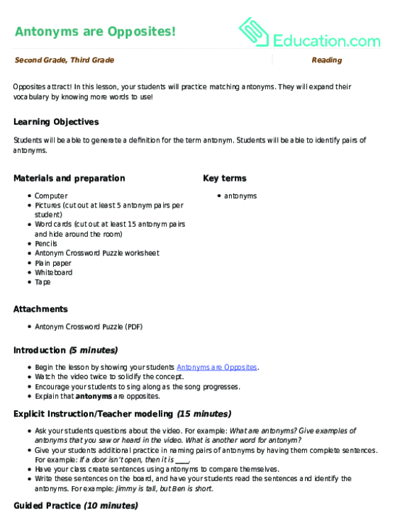 Antonyms are Opposites! Lesson Plan | Lesson Plan | Education.com
