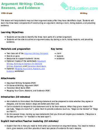lesson plans for writing argumentative essays