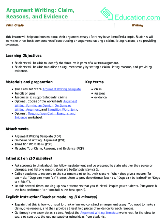 Lesson Plan Argument Writing Claim Reasons And Evidence