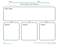 Graphic Organizer Template: Main Idea and Details
