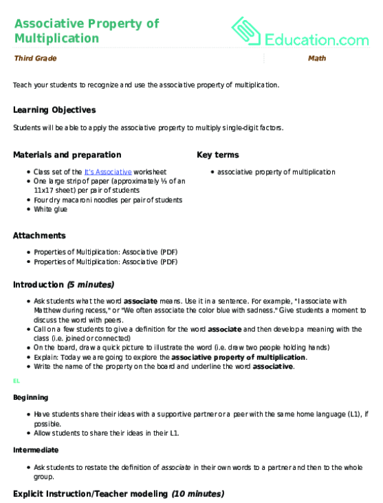 One Digit Multiplication And The Commutative Property Exercise