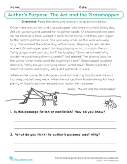 Author's Purpose: The Ant and the Grasshopper