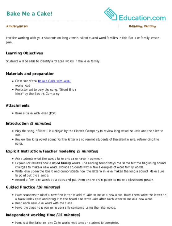 Bake Me A Cake Lesson Plan Education Lesson Plan