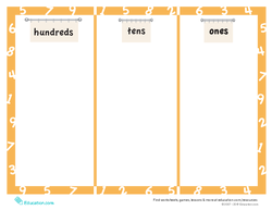 Place Value Mat: Three-Digit Numbers